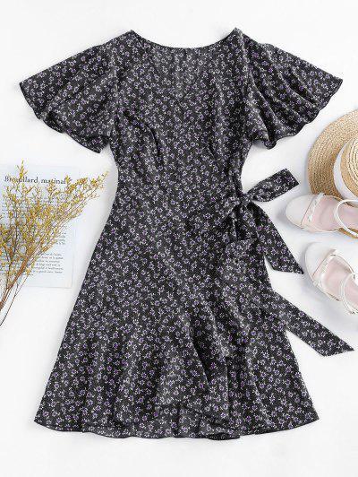 ZAFUL Ditsy Print Ruffle Butterfly Sleeve Tulip Dress - Black M