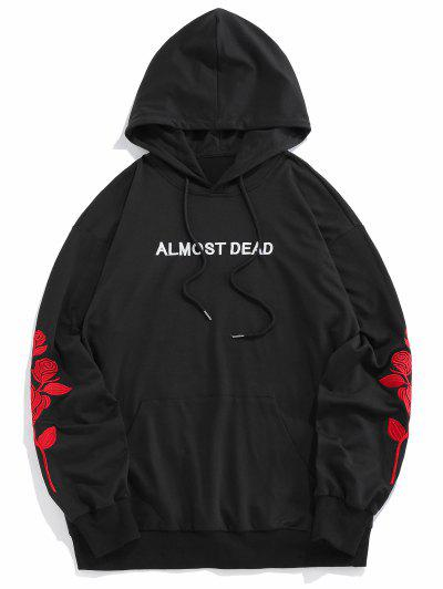 ZAFUL Rose Almost Dead Embroidery Hoodie - Black M