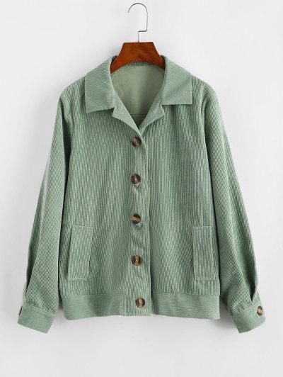 ZAFUL Ribbed Buttons Corduroy Jacket - Light Green L