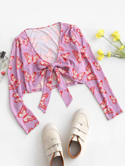 ZAFUL Front Tie Butterfly Print Ribbed Cardigan - Mauve M