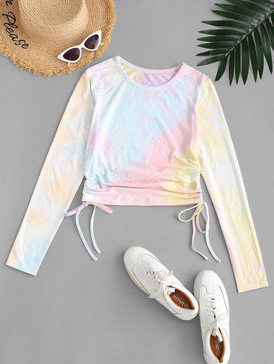 ZAFUL Tie Dye Cinched Long Sleeve T-shirt - Multi-a M