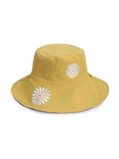 Flower Pattern Bucket Hat - Yellow