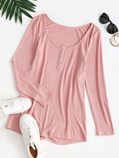 ZAFUL Ribbed Skinny Long Sleeve Henley Romper - Lipstick Pink L
