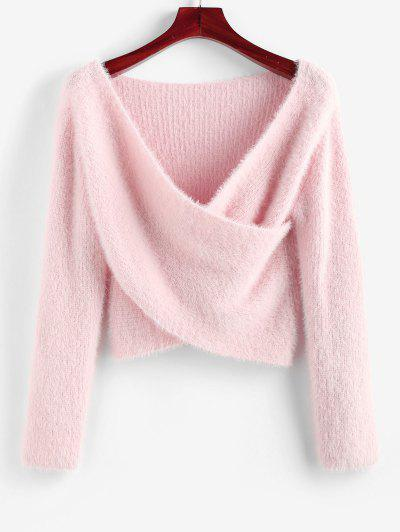 ZAFUL Fuzzy Crossover Plunging Crop Sweater - Light Pink M