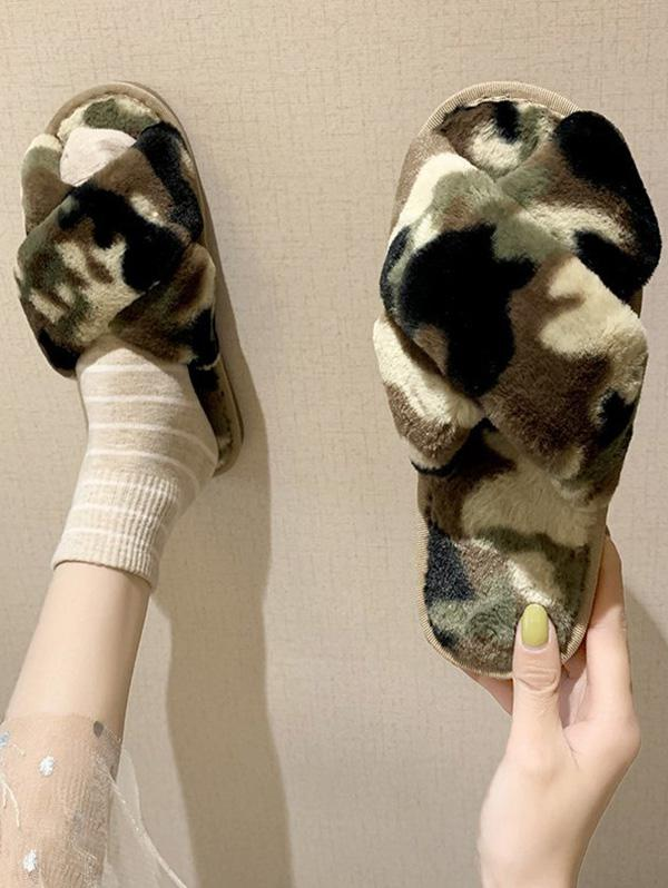 Camouflage Cross Faux Fur Slippers