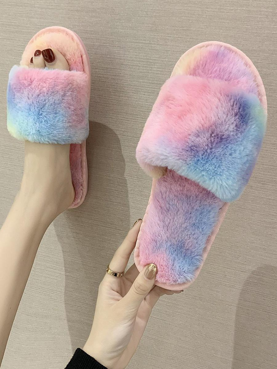 Zaful Gradient Color Faux Fur Slippers