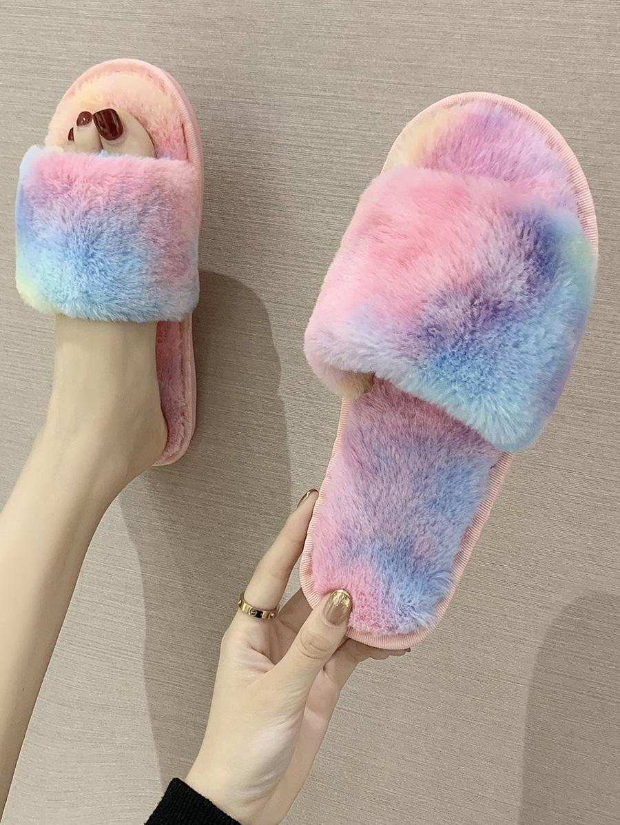 Gradient Color Faux Fur Slippers
