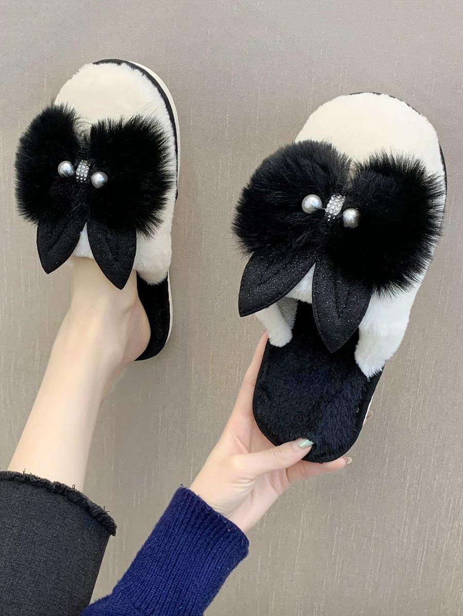 Bowknot Faux Pearl Plush Slippers