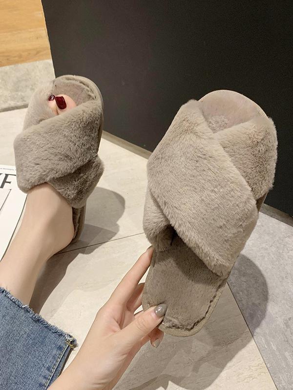 Cross Faux Fur Outdoor Slippers
