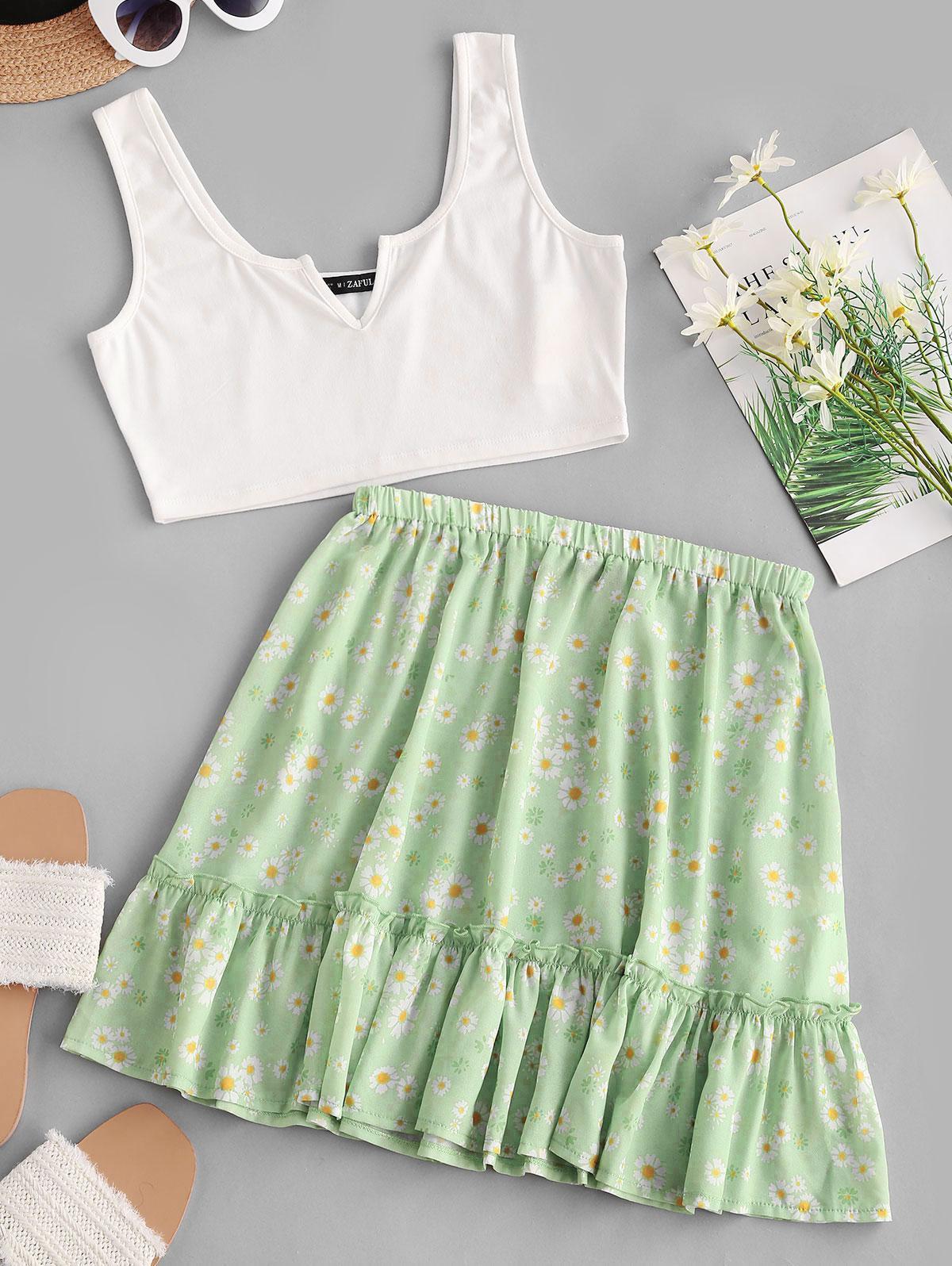 ZAFUL V-notched Cropped Daisy Print Two Piece Dress