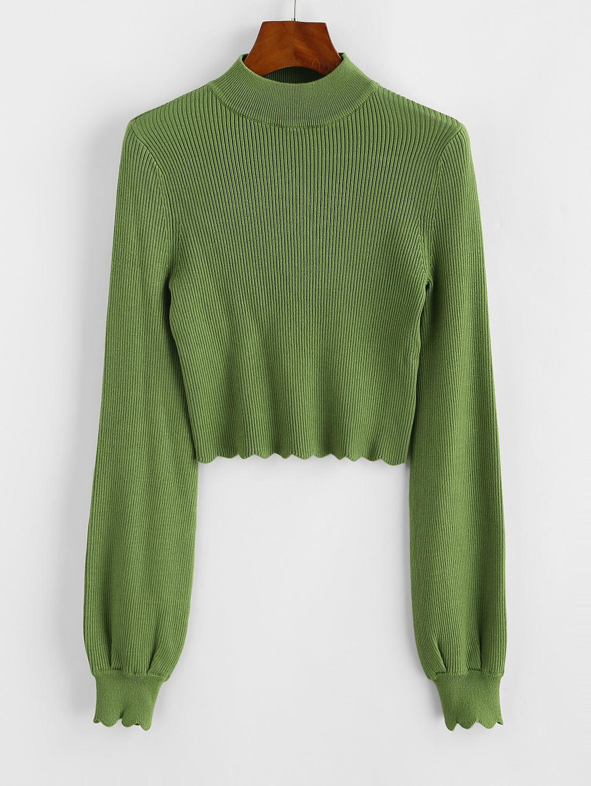 Mock Neck Ribbed Scalloped Cropped Sweater