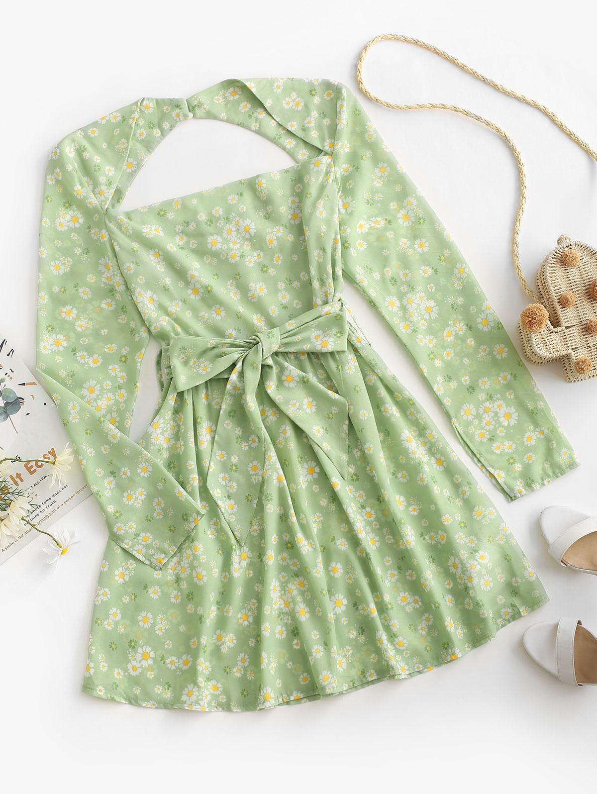 ZAFUL Open Back Belted Daisy Print Mini Dress