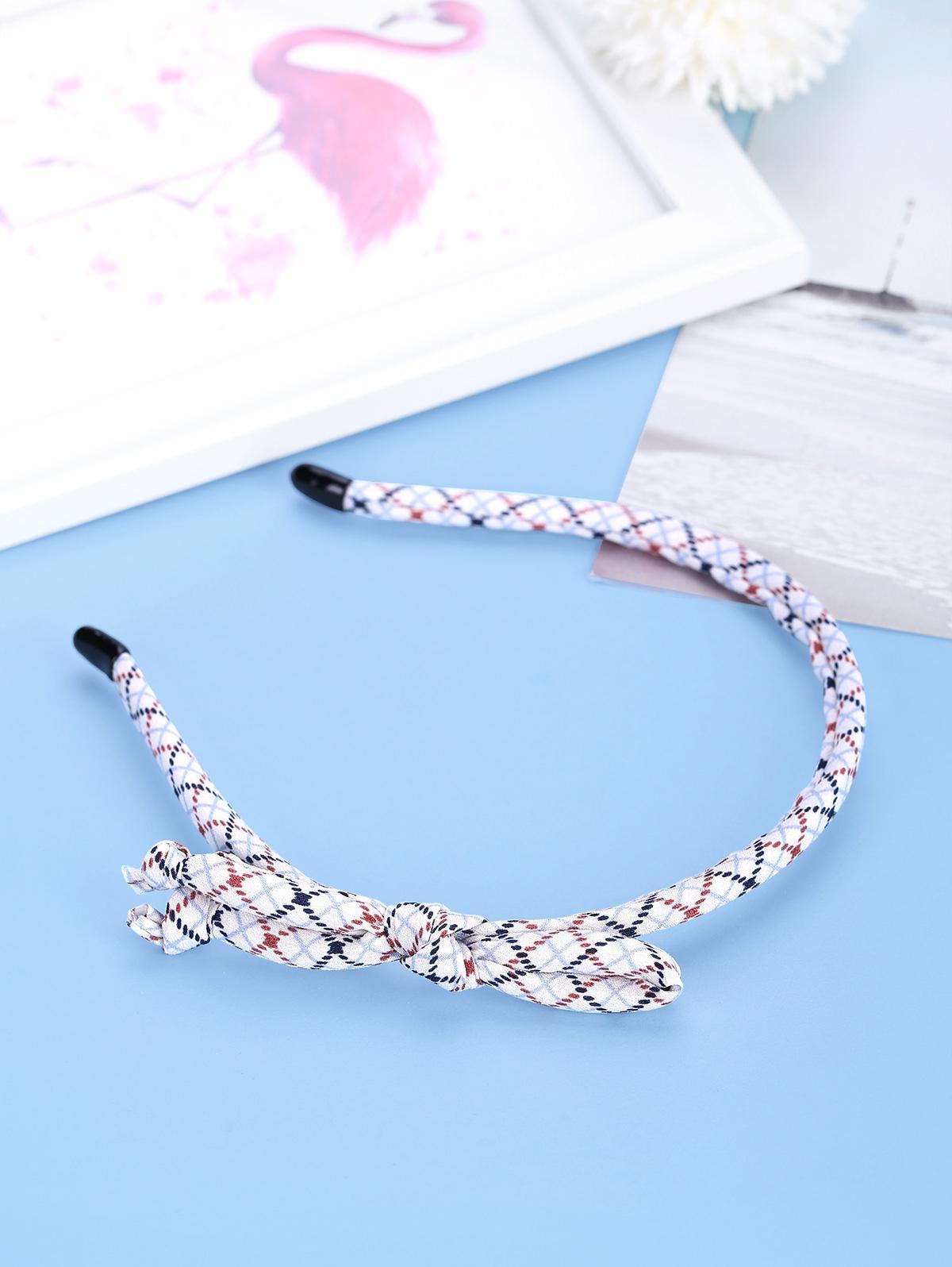 Bowknot Argyle Pattern Thin Hairband