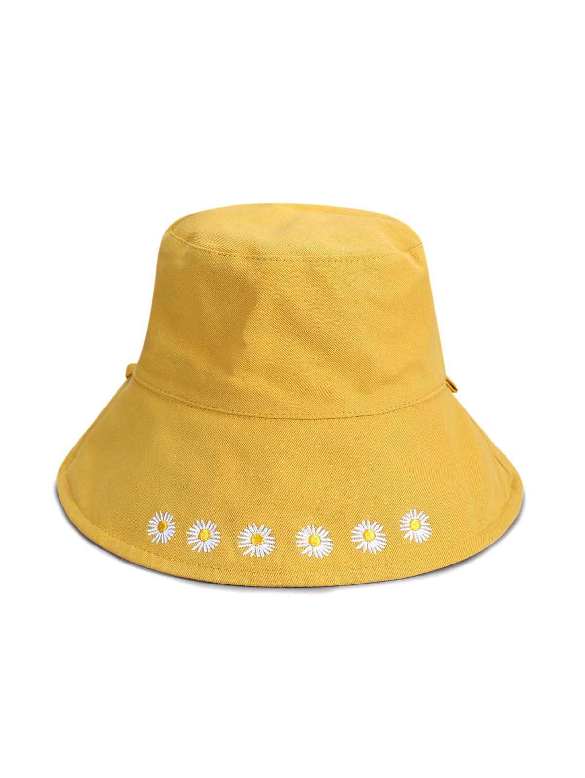 Daisy Embroidery Foldable Wide Brim Bucket Hat