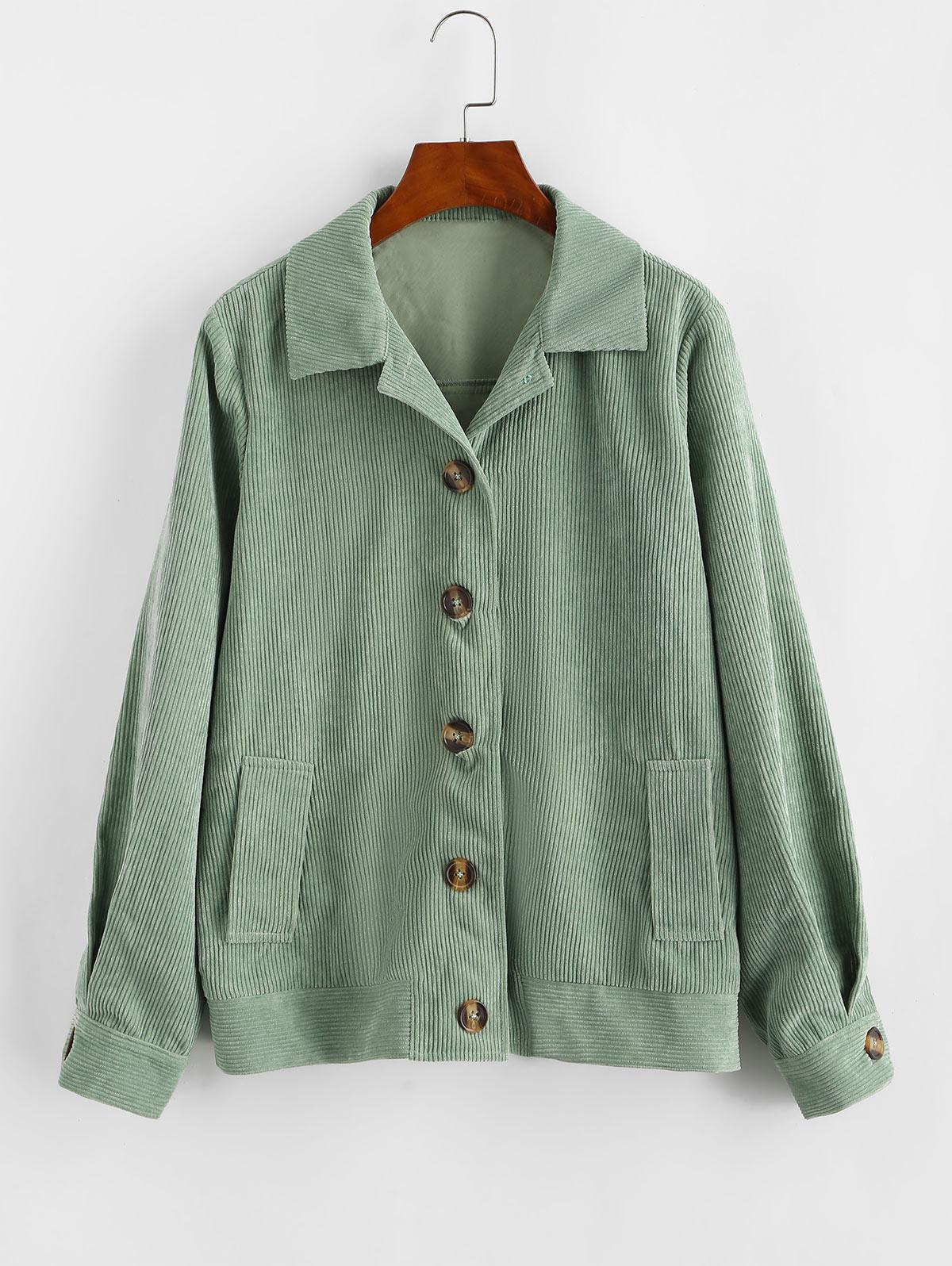 ZAFUL Ribbed Buttons Corduroy Jacket