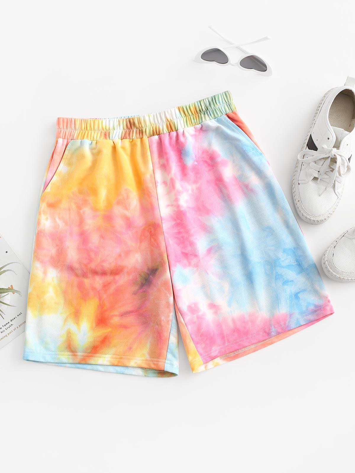 ZAFUL High Rise Tie Dye Sweat Shorts