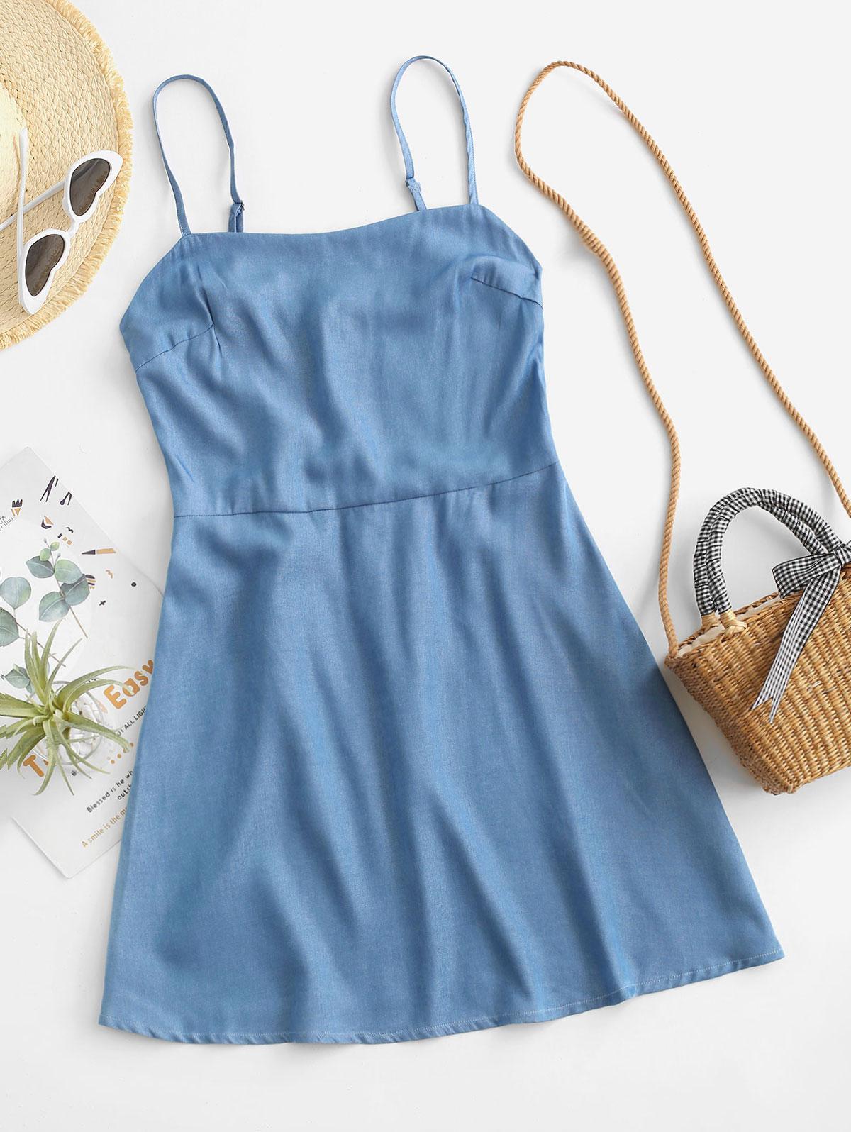 ZAFUL Chambray Smocked Back Cami Dress
