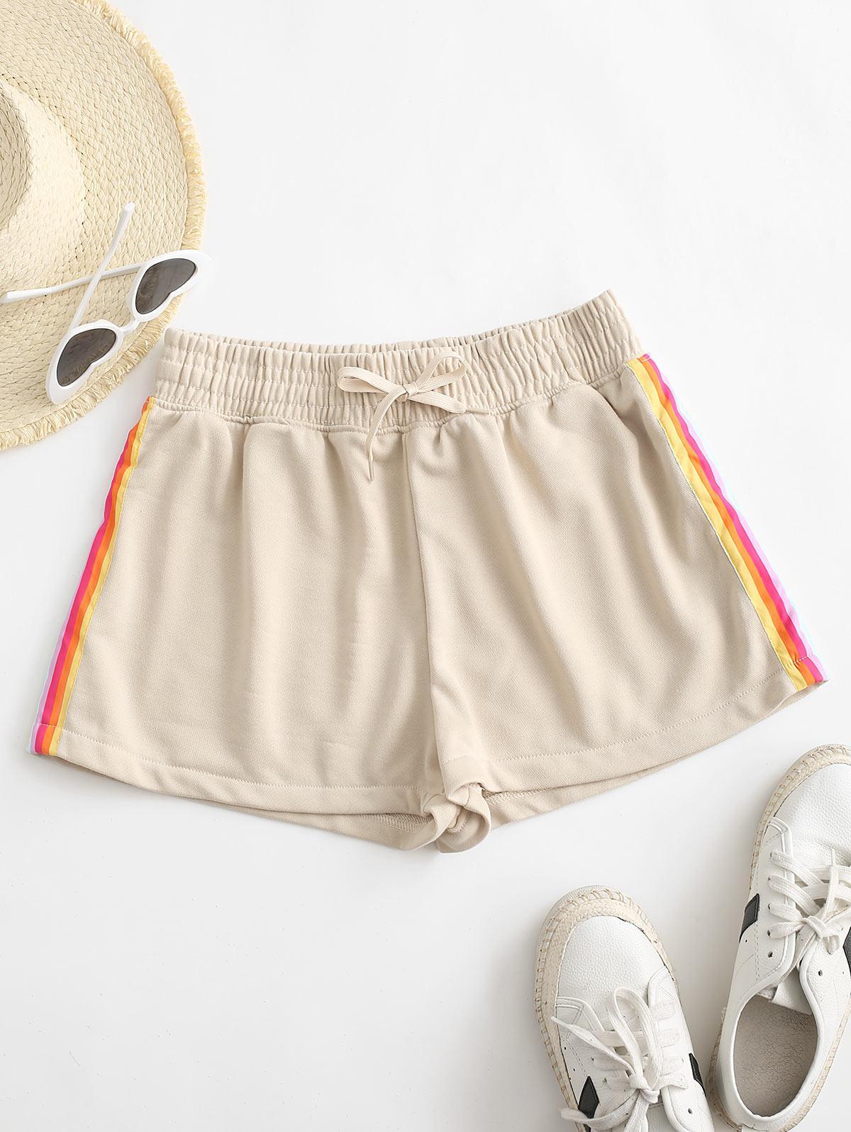 Rainbow Side Drawstring High Waisted Shorts