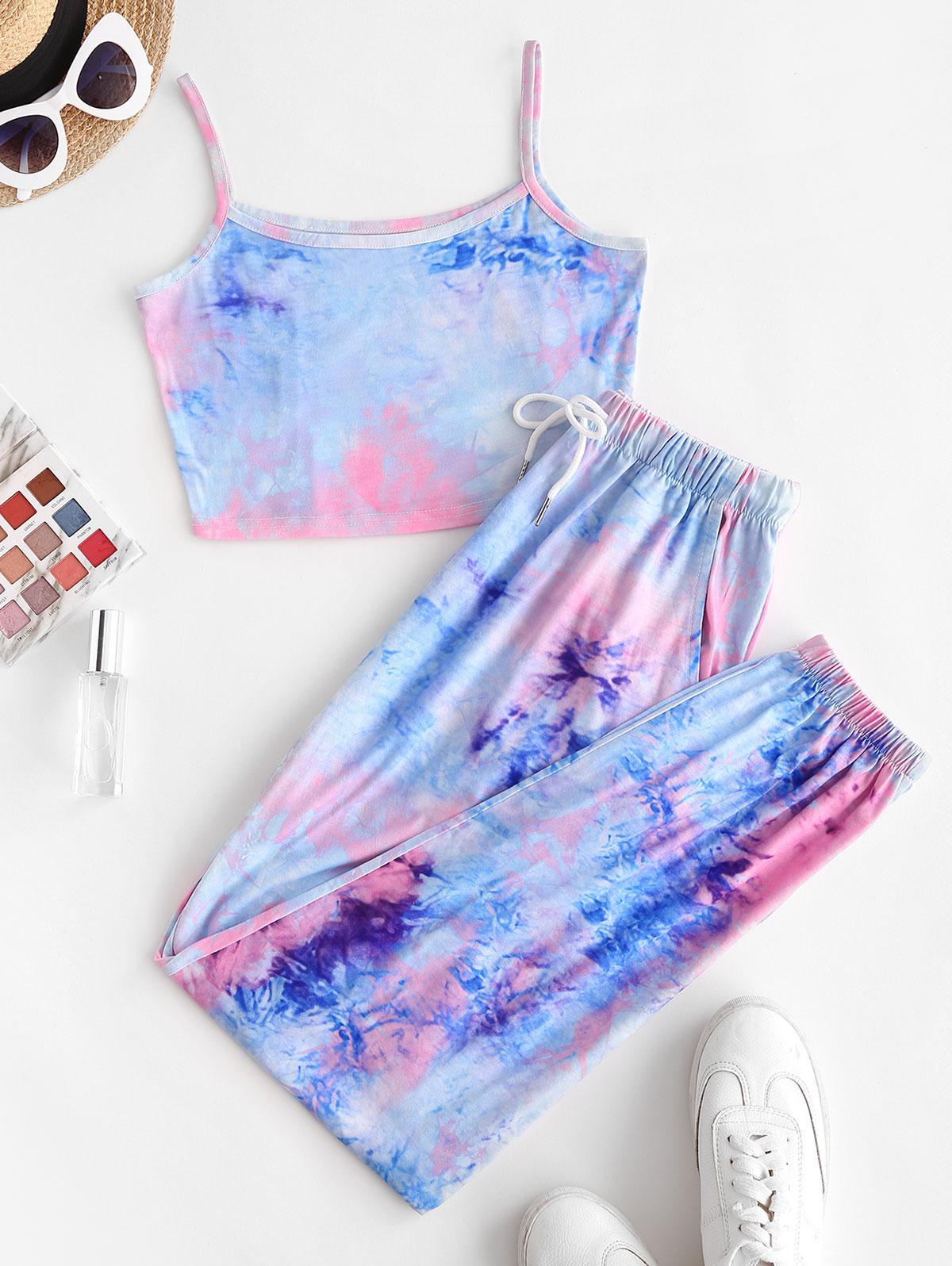 ZAFUL Tie Dye Pocket Drawstring Jogger Pants Set