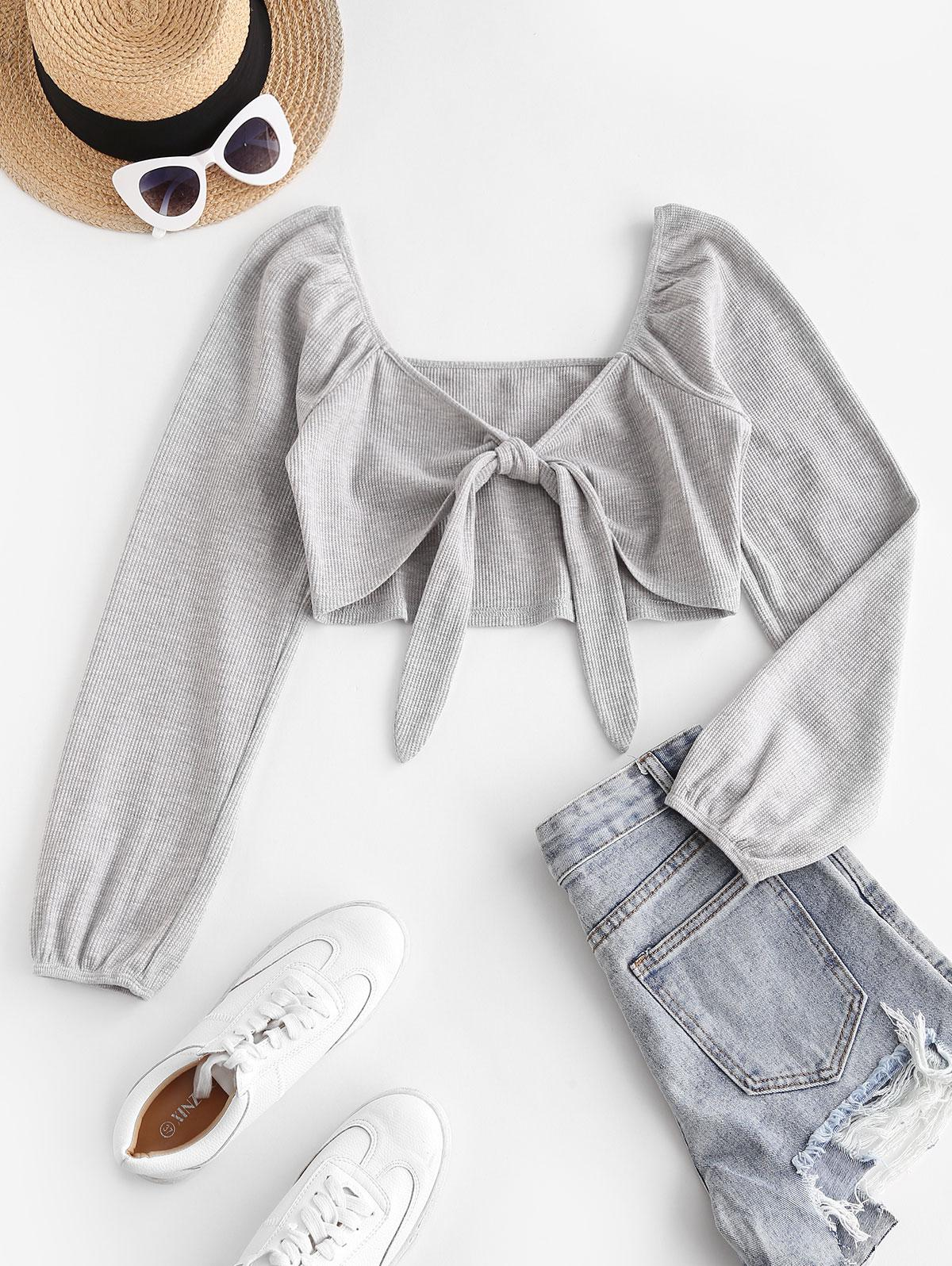 ZAFUL Ribbed Front Tie Crop Knitwear