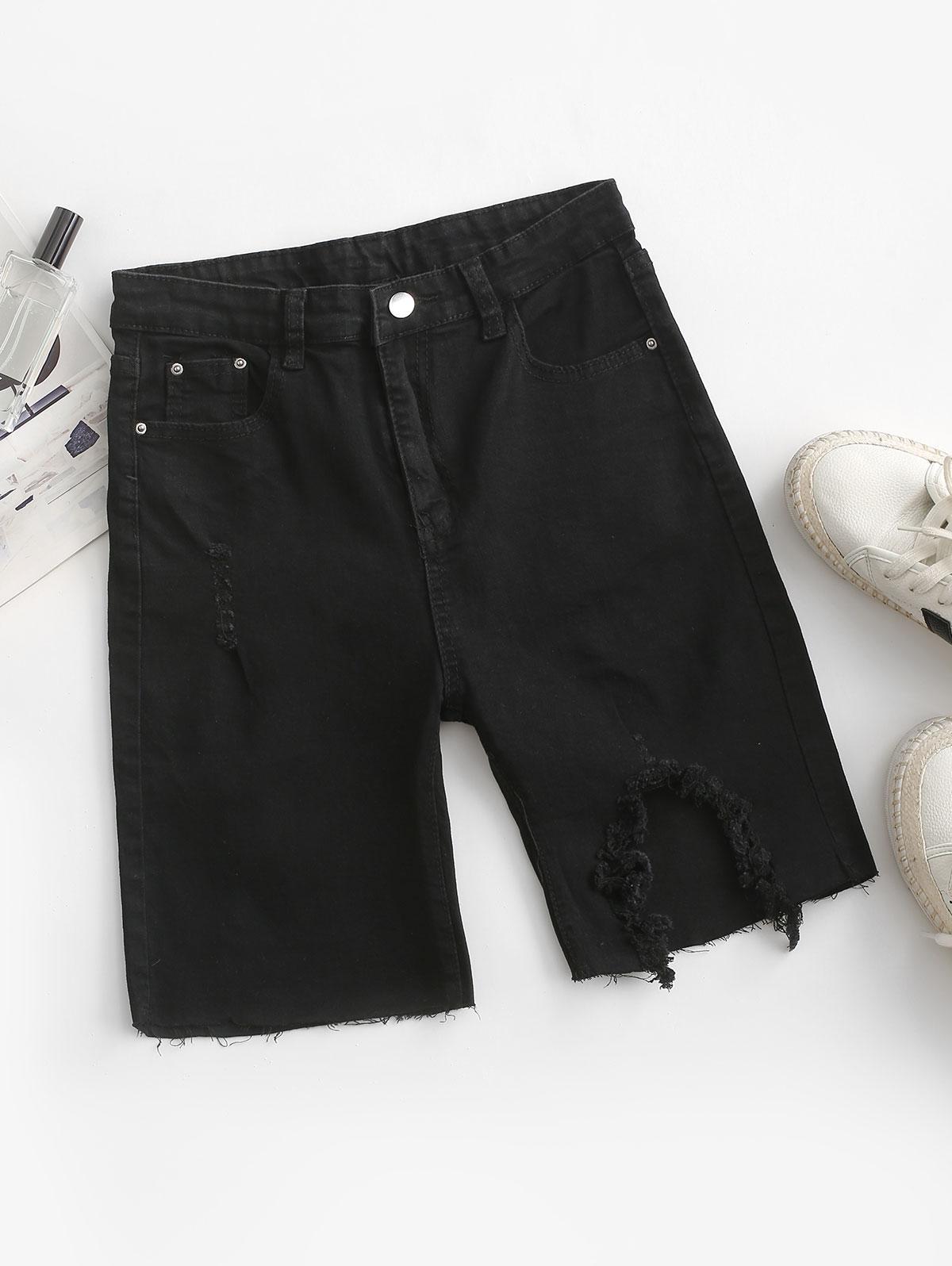 Frayed Distressed Denim Bermuda Shorts