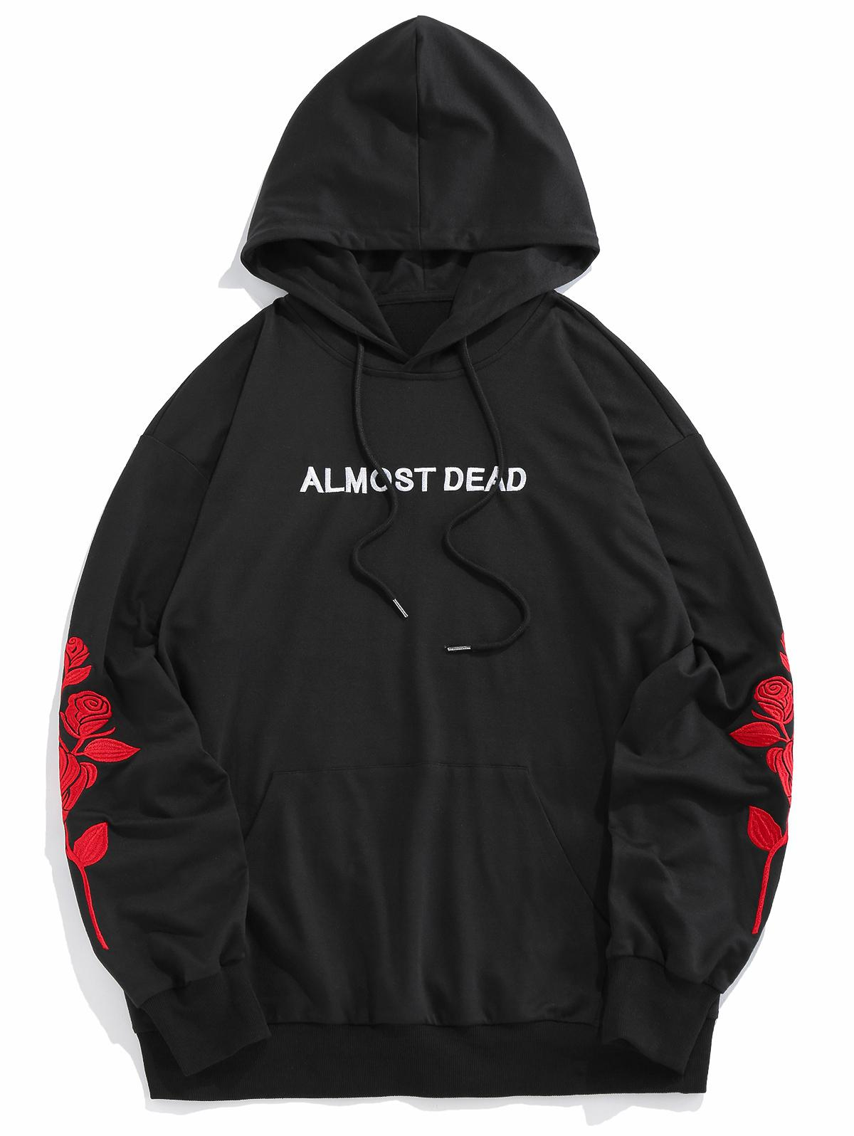 25% RABATT] 2020 ZAFUL Rose Fast Tot Stickerei Hoodie In