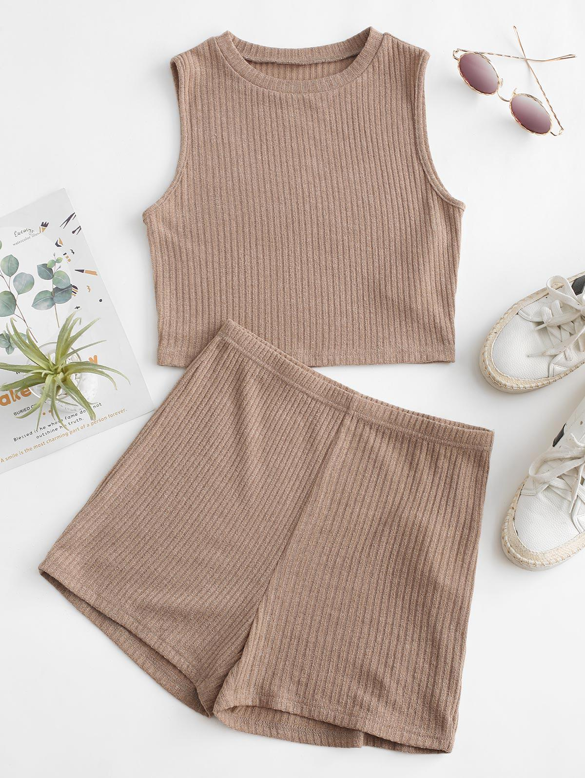 ZAFUL Ribbed Knit Crop Top and Shorts Pajama Set