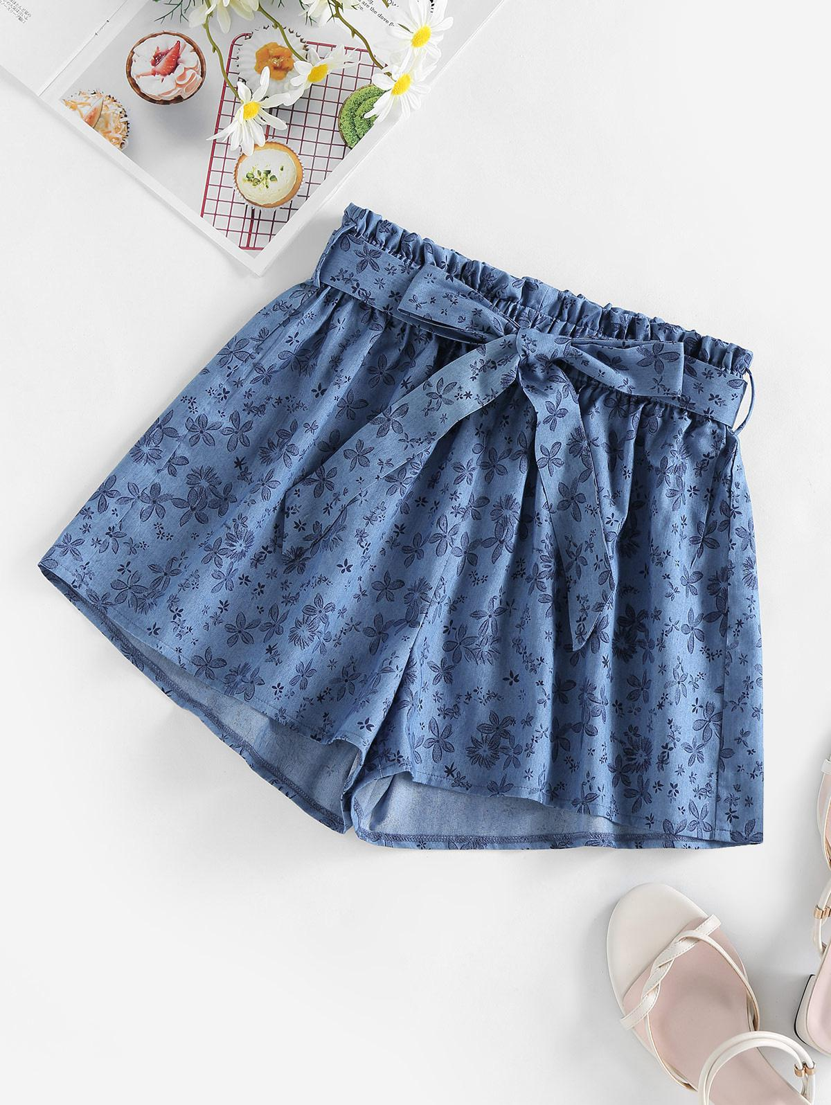 ZAFUL Belted Floral Chambray Shorts