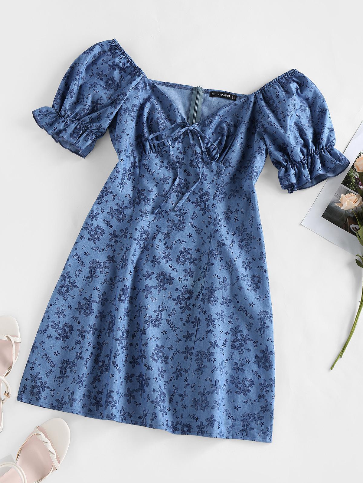 ZAFUL Puff Sleeve Floral Print Mini Dress