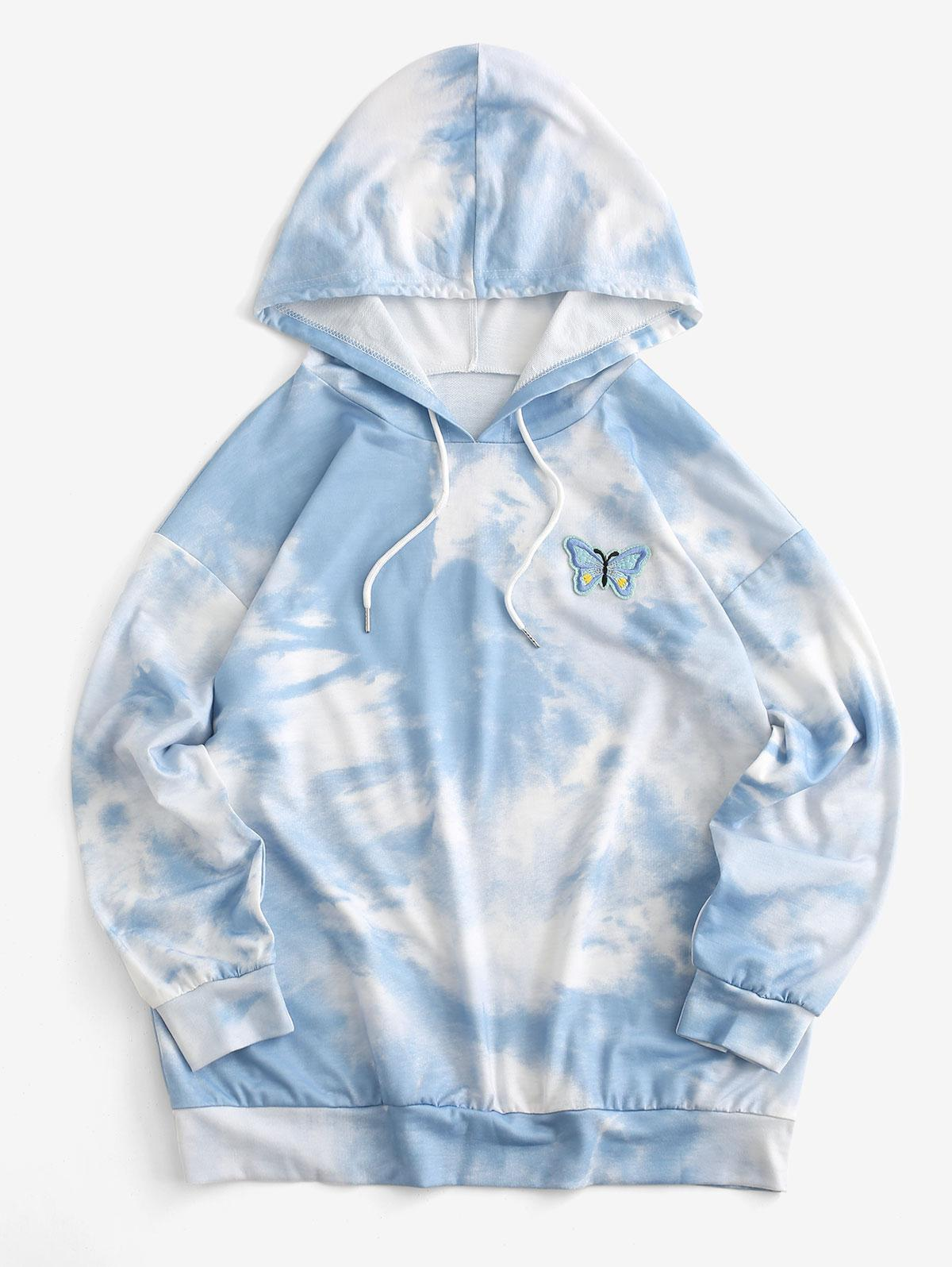 Cloud Tie Dye Butterfly Embroidered Drawstring Drop Shoulder Hoodie