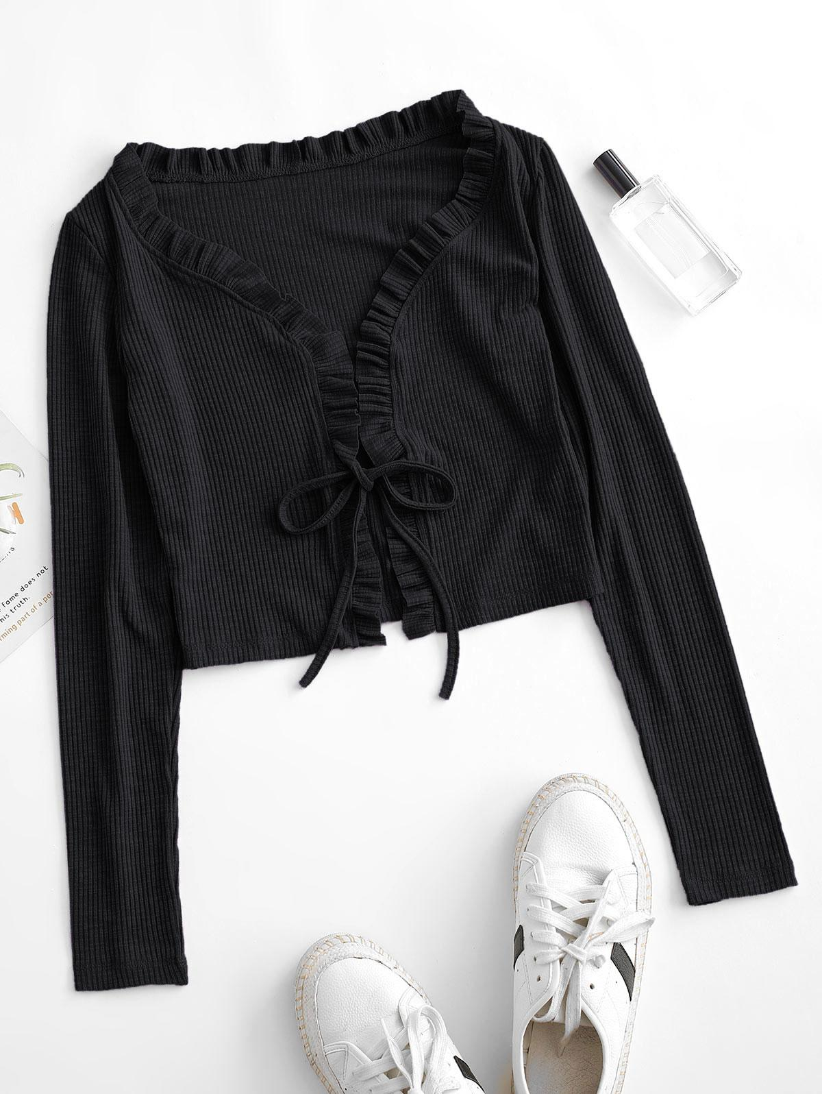 Frilled Ribbed Tie Front Top
