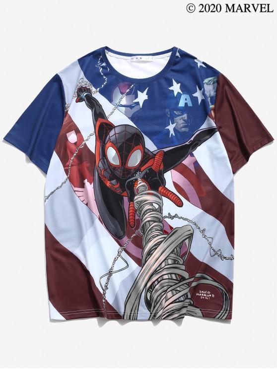 ladies Marvel Spider-Man Printed Colorblock T-shirt - MULTI 2XL