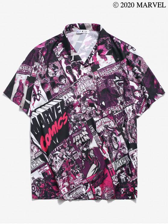 ladies Marvel Spider-Man Comics Print Pocket Shirt - MULTI XL