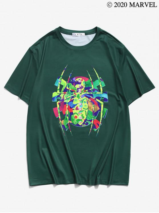 outfits Marvel Spider-Man Short Sleeve Graphic Print T-shirt - DEEP GREEN S
