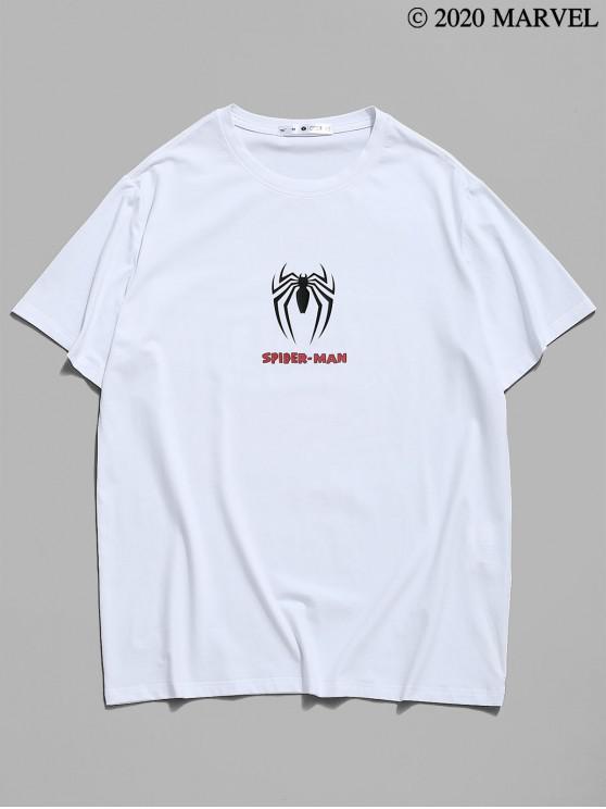 unique Marvel Spider-Man Icon Print Graphic T-shirt - WHITE S