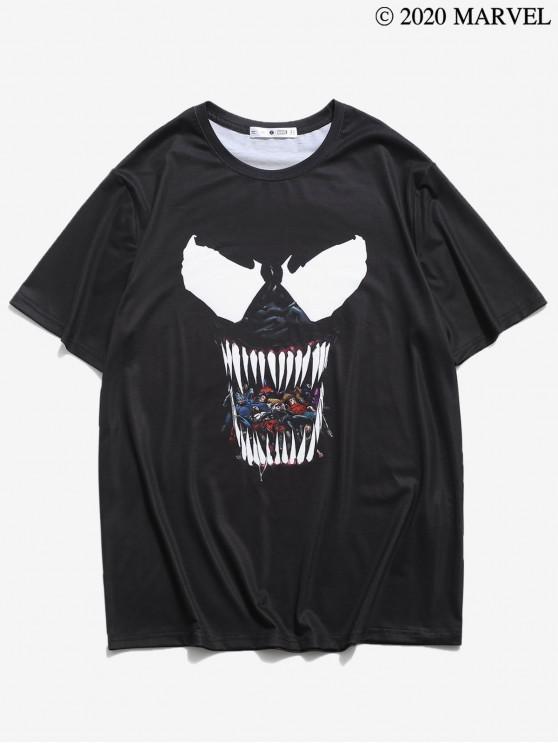 unique Marvel Spider-Man Venom Pattern Short Sleeves Tee - BLACK L