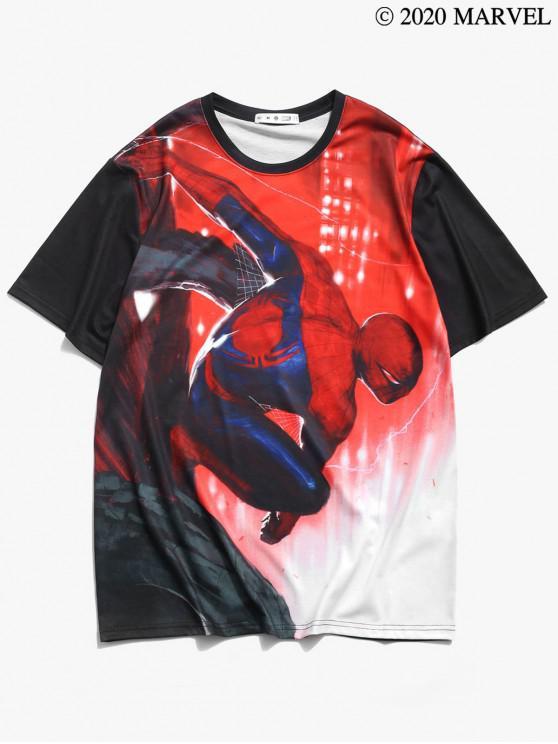 ladies Marvel Spider-Man Pattern T-shirt - BLACK S