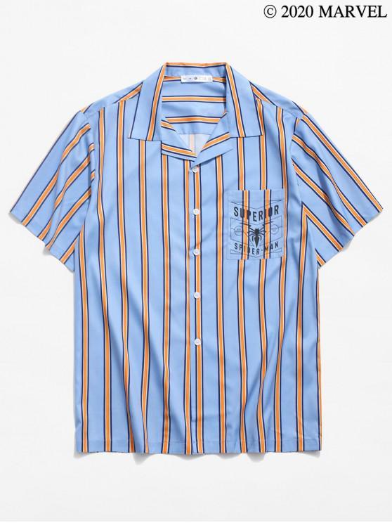 trendy Marvel Spider-Man Graphic Striped Print Pocket Shirt - LIGHT SKY BLUE S
