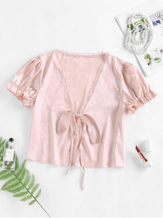 women's ZAFUL Satin Jacquard Tie Front Blouse - LIGHT PINK S