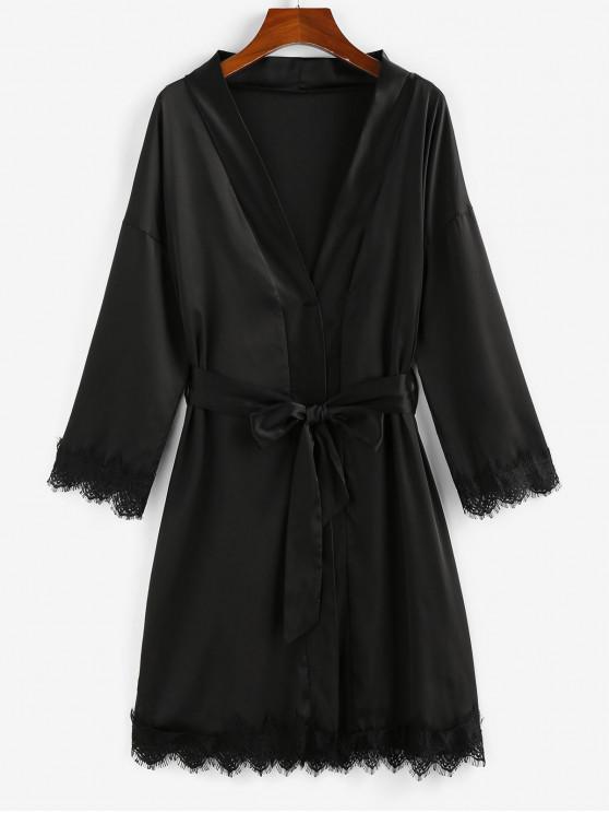 shops ZAFUL Belted Lace Trim Kimono Wrap Robe - BLACK XL