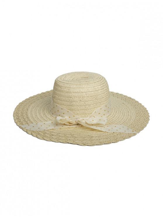 Chapéu Elegante de Palha de Desenho Simples para Mulheres - Bege