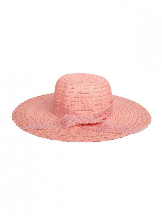 shop Dots Ribbon Bowknot Straw Hat - SAKURA PINK