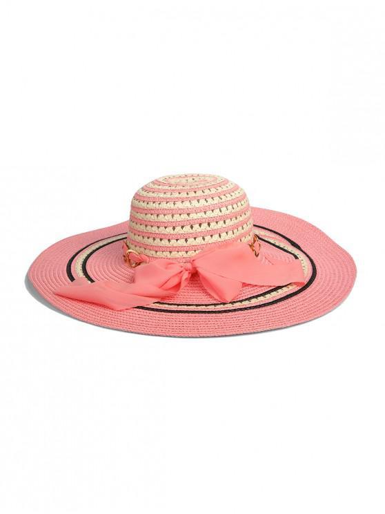 chic Striped Chain Ribbon Straw Hat - SAKURA PINK