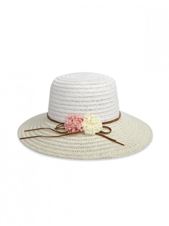 affordable Flowers Colorblock Straw Hat - CRYSTAL CREAM