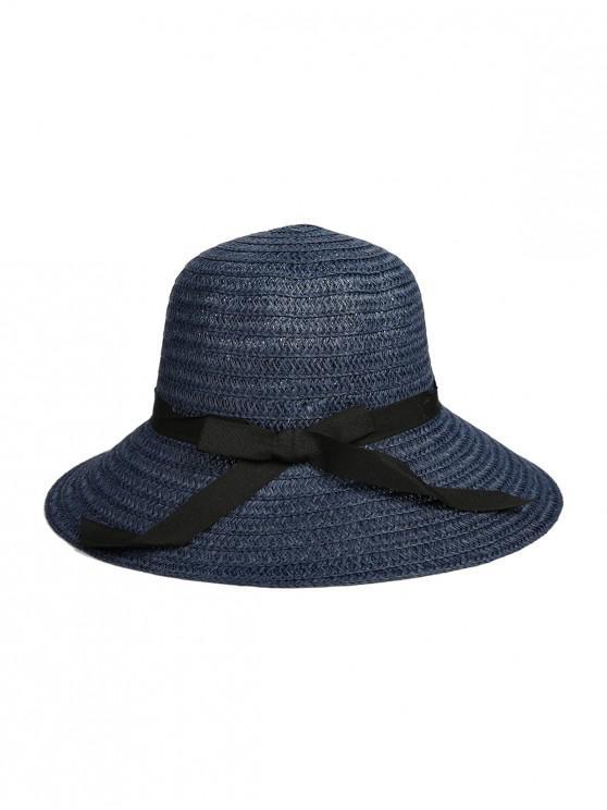 best Bowknot Ribbon Straw Hat - CADETBLUE