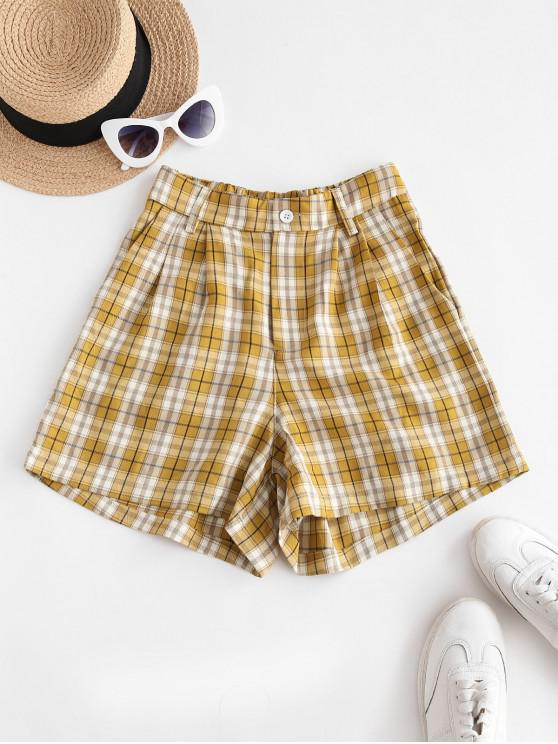 latest Plaid High Waisted Loose Shorts - YELLOW L