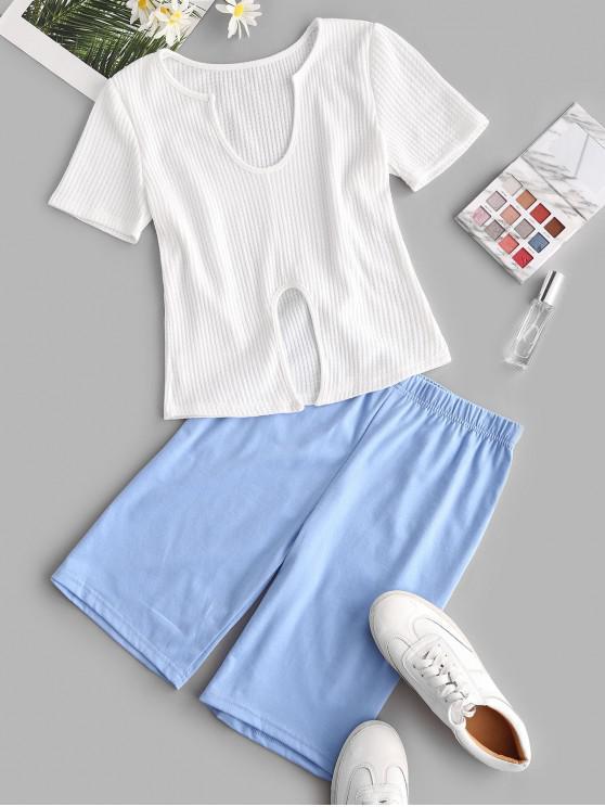 Conjunto de Biker Shorts Entalhado de Bloco de Cores - Azul claro M
