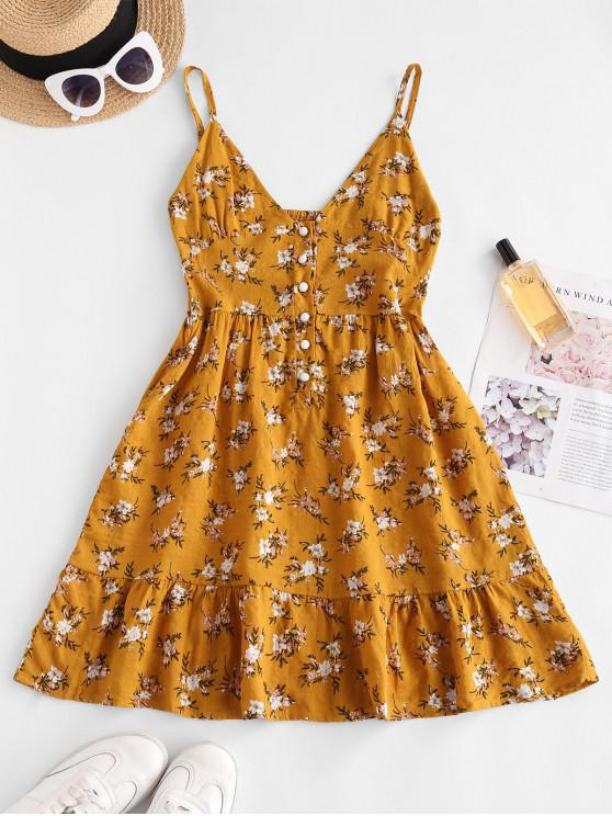 women Flower Print Half Button Flounce Hem Dress - YELLOW L