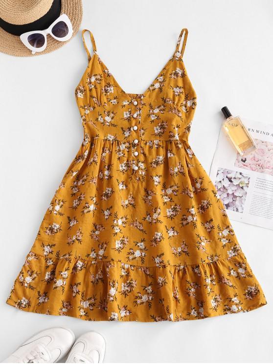 unique Flower Print Half Button Flounce Hem Dress - YELLOW S