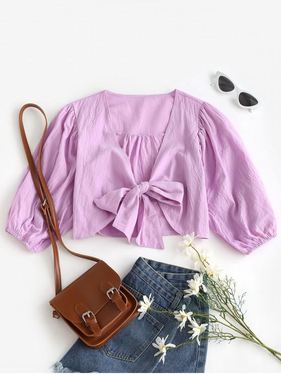 Blusa Barriga de Fora de Nó Frontal Sólido - Luz roxa M